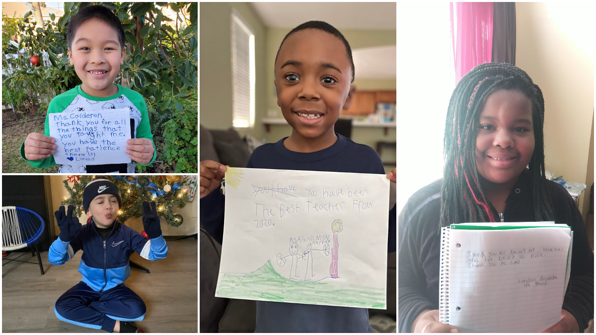 iLEAD Lancaster learners with thank-you signs