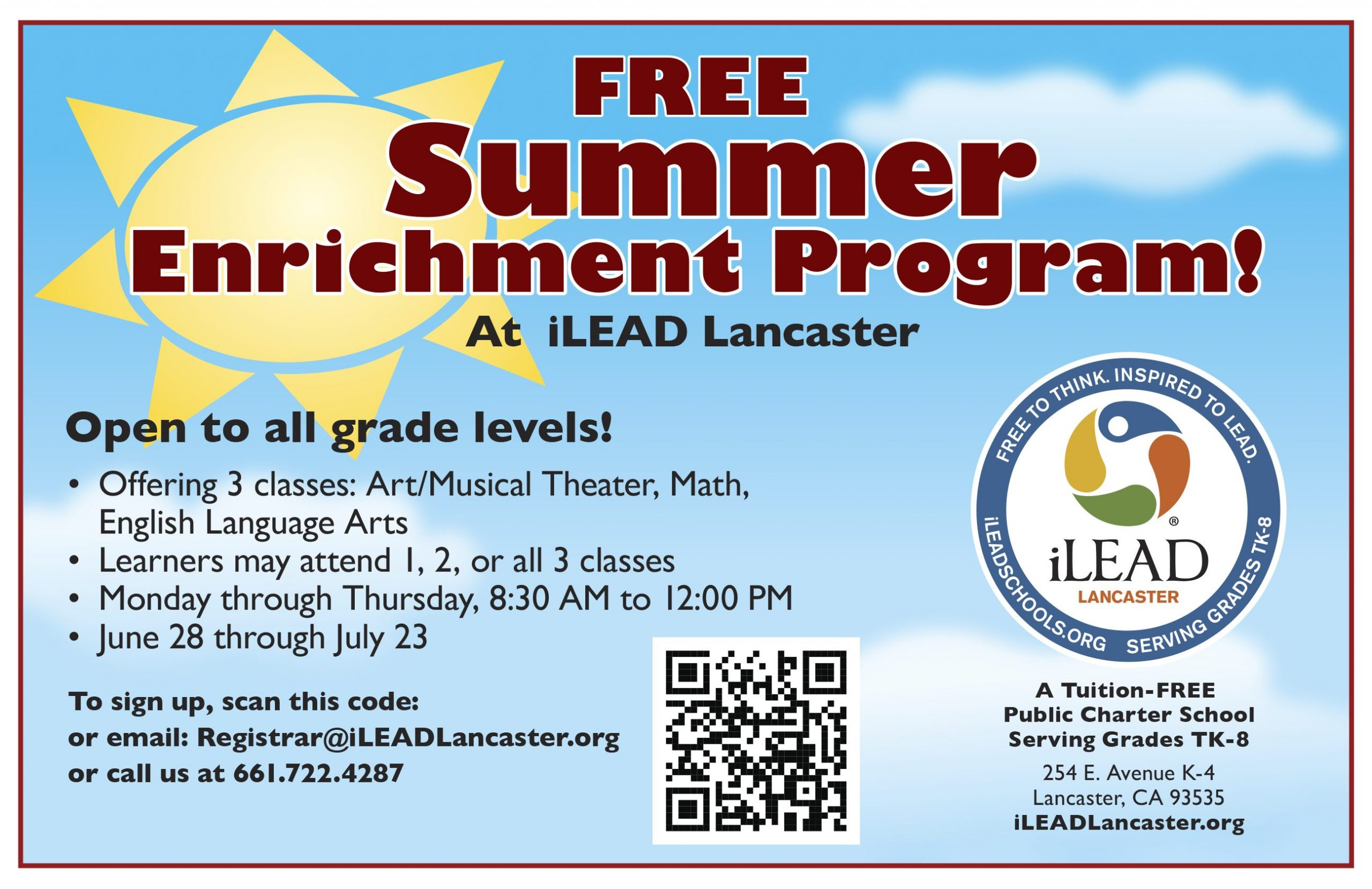 iLEAD Lancaster Free Summer Enrichment Programs