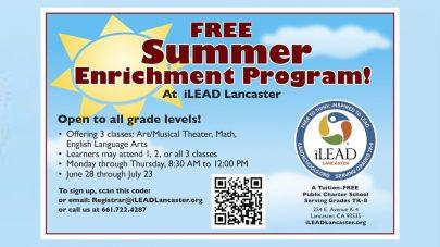iLEAD Lancaster Summer Enrichment Program flyer